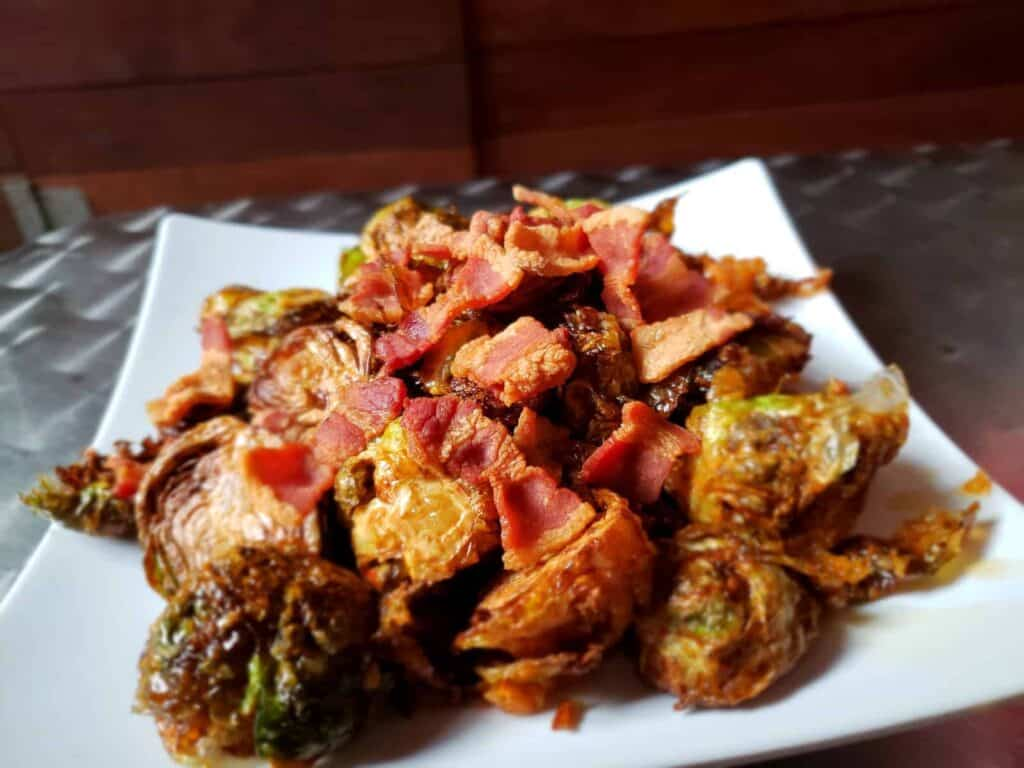 Crispy Bacon Brussels Sprouts on a Plate