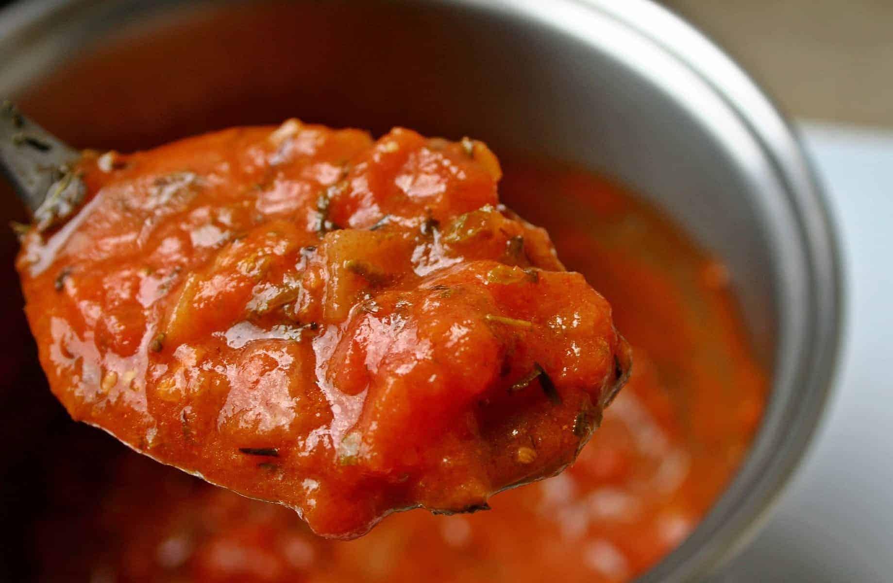 keto marinara sauce on a spoon