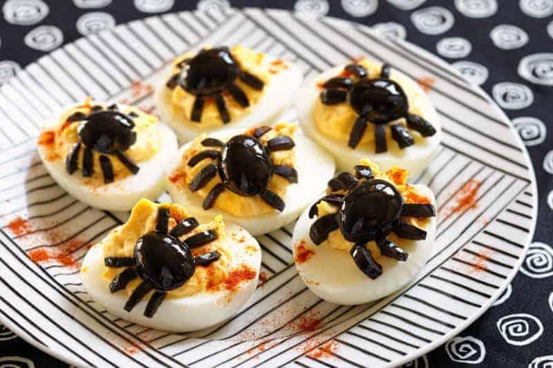 Halloween Deviled Eggs on a plate