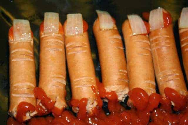 severed fingers hot dogs with bloody ketchup