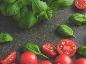 container gardening - tomatoes and basil on counter