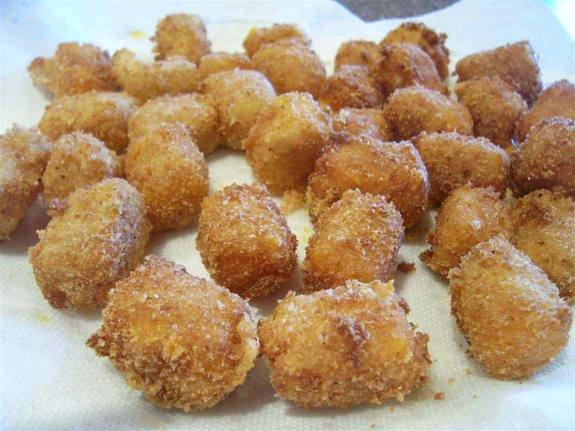 Fried Cheese Balls on a paper towel