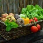 vegetable gardening tips - basket of harvested veggies