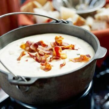 Bacon cheese dip in a cast iron dutch oven
